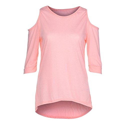 vermers Clearance Women Plus Size Off Shoulder Tops Summer Solid O Neck Short Sleeve Loose Casual T-Shirt Blouses(5XL, Pink) -