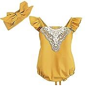 Ephex Newborn Baby Girls Romper Sunsuit Jumpsuit with Headband, Pink, 9 Months