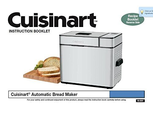 Cuisinart Bread Machine Maker Instruction Manual & Recipes (Cuisinart Bread Machine Cover compare prices)