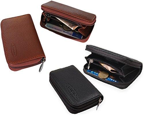 K.DESIGNS Premium Leder Portemonnaie / Portmonee / Geldbeutel / Geldbörse klein / mini , für Damen und Herren, 2 Kreditkartenfächern, 2 Fächer, 1 Münzfach mit Reißverschluß in Braun