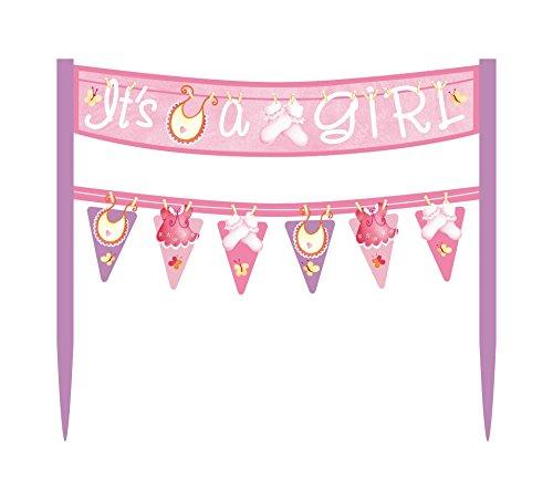 Cardboard Pink Clothesline Girl Baby Shower Cake Bunting Topper