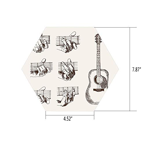 iPrint Hexagon Wall Sticker,Mural Decal,Guitar,Sketch Art Style Instrument and Chords Acoustic Flamenco Technique Skill Talent Decorative,Cream Brown,for Home Decor 4.52x7.87 10 Pcs/Set -