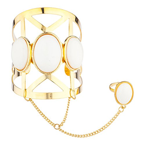 Lux Accessories Gold Tone White Stone Caged Cut Out Geo Ring Handcuff Bracelet