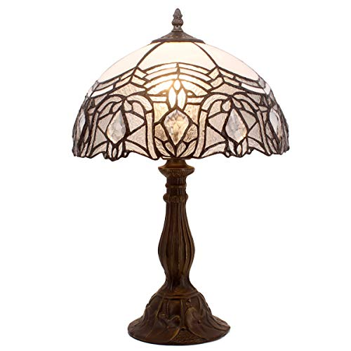 Tiffany Lamp Stained Galss Style Table Desk Lamps with Crystal Reading Light 18 Inch Tall Antique Beside Desk for Living Room Bedroom Kids Room Coffee Table Bookcase S508W WERFACTORY ()