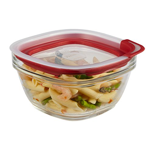 Rubbermaid Easy Find Lids Glass Food Storage Container, 4 Cup, Racer Red 1823640
