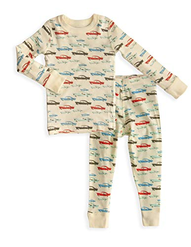 Boy's Cars Long Sleeve Pajama Set - 100% Soft Organic Cotton Shirt Pants - Sizes -