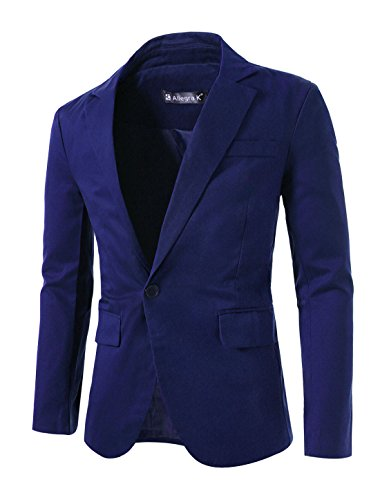 (uxcell Mens Notched Lapel One Button Closure Casual Blazer Blue S (US 34))
