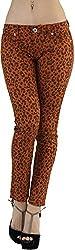 ToBeInStyle Women's Skinny Ankle Denim Cheetah Animal Print Jean Pants - Orange - S