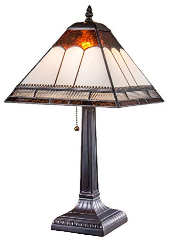 J Devlin Lam 684 TB Tiffany Stained Glass Mission Table Lamp Ivory Brown Clear Metal Filigree Accent Light