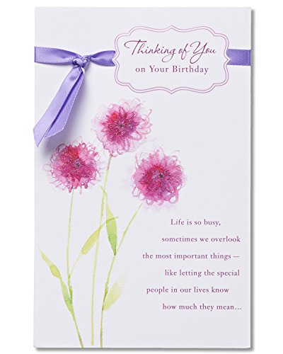 American Greetings Thinking Of You Birthday Card with Glitter
