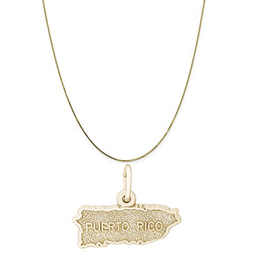 Rembrandt Charms 10K Yellow Gold Puerto Rico Map Charm on a 10K Yellow Gold Box Chain Necklace, 20