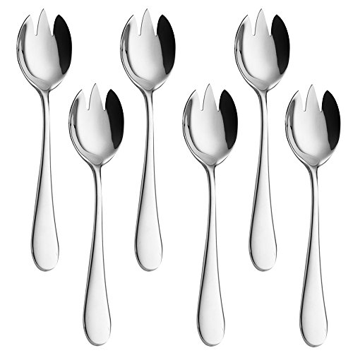 Serving Sporks, Salad Utensils for Serving, AOOSY Stainless Steel Buffet Banquet Flatware Kitchen Basics Multifunctiona Serving Spoon Fork Set of 6 (E Multifunctiona Sporks)