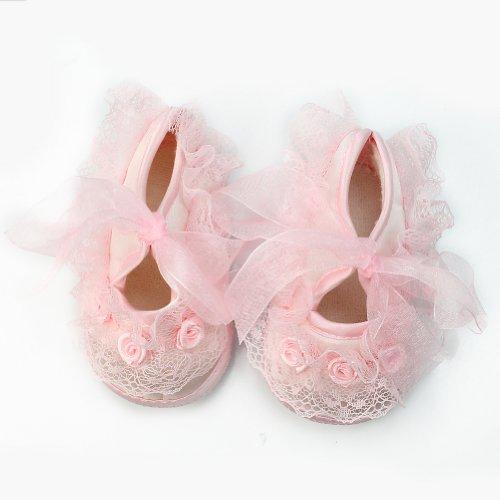 Princesse antidérapant nouveau-né Bébé Tout Fille belle dentelle Chaussures 0-3 mois - Rose