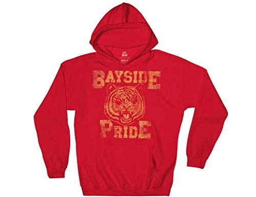 Ripple Junction Saved by The Bell Adult Unisex Bayside Pride Pull Over Fleece Hoodie LG Red