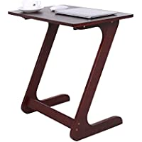 Bamboo Snack Table Sofa Table End Table TV Trays Laptop Desk Side Table C Table Bedside Sofa Eating Writing Reading Home Office,Walnut Color