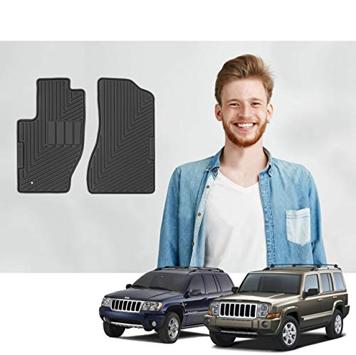(Road Comforts Custom Fit Jeep Commander 2006-2010 & Grand Cherokee 1999-2010 Car Floor Mats - All Weather Ultimate Protection with a Stylish Look - Front Row Only (2pcs))