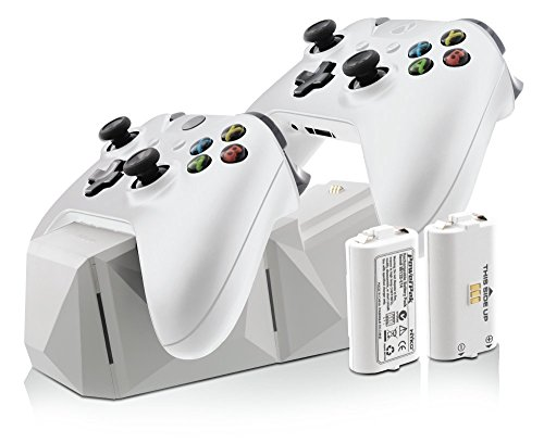 Nyko Charge Block Duo - 2 Port Controller Charging Station with 2 Rechargeable Batteries, Covers and included Micro-USB/AC Power Cord for Xbox One - White