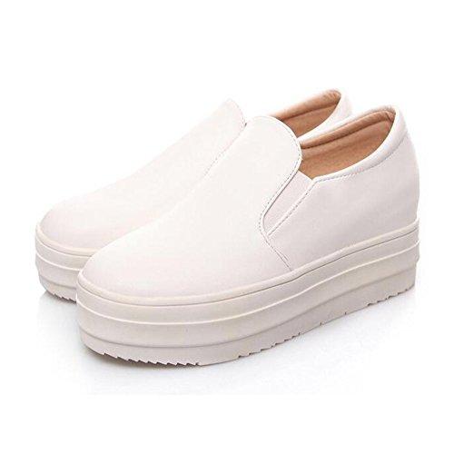 Summerwhisper Women's Casual Elastic Low Top Loafers Platform Slip on Flat Sneakers White 9.5 B(M) US