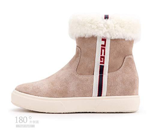 Descubiertas De Color Altura Terciopelo Ocasionales Marrón Aumento La Botas Mujeres Más Sólido Nieve Liangxie Tendencia Zapatos Las Calientes wBqvYHq5pn