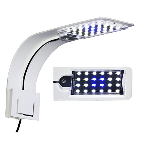 - Alltrust 10W Super Slim Aquarium Fish Tank 5730 LED Light Clip-on Lamp Aquatic Plant Lighting (White Body White+Blue Light)