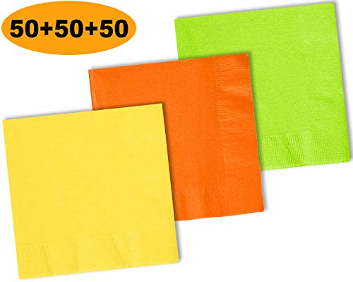 (150 Beverage Napkins, Lemon Yellow, Pumpkin Orange, Lime Green - 50 Each Color. 2 Ply Paper Cocktail Napkins. 5
