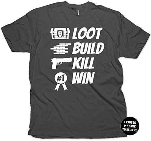 Loot Build Kill Win Gamer Gaming T-Shirt & Stickers Adult (Charcoal Medium)