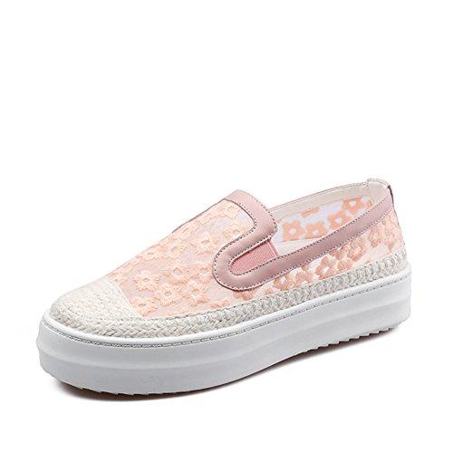 Flor Duolei Si los holgazanes/zapatos de malla gruesa corteza pescador de lino/ zapatos de cuero respirables A