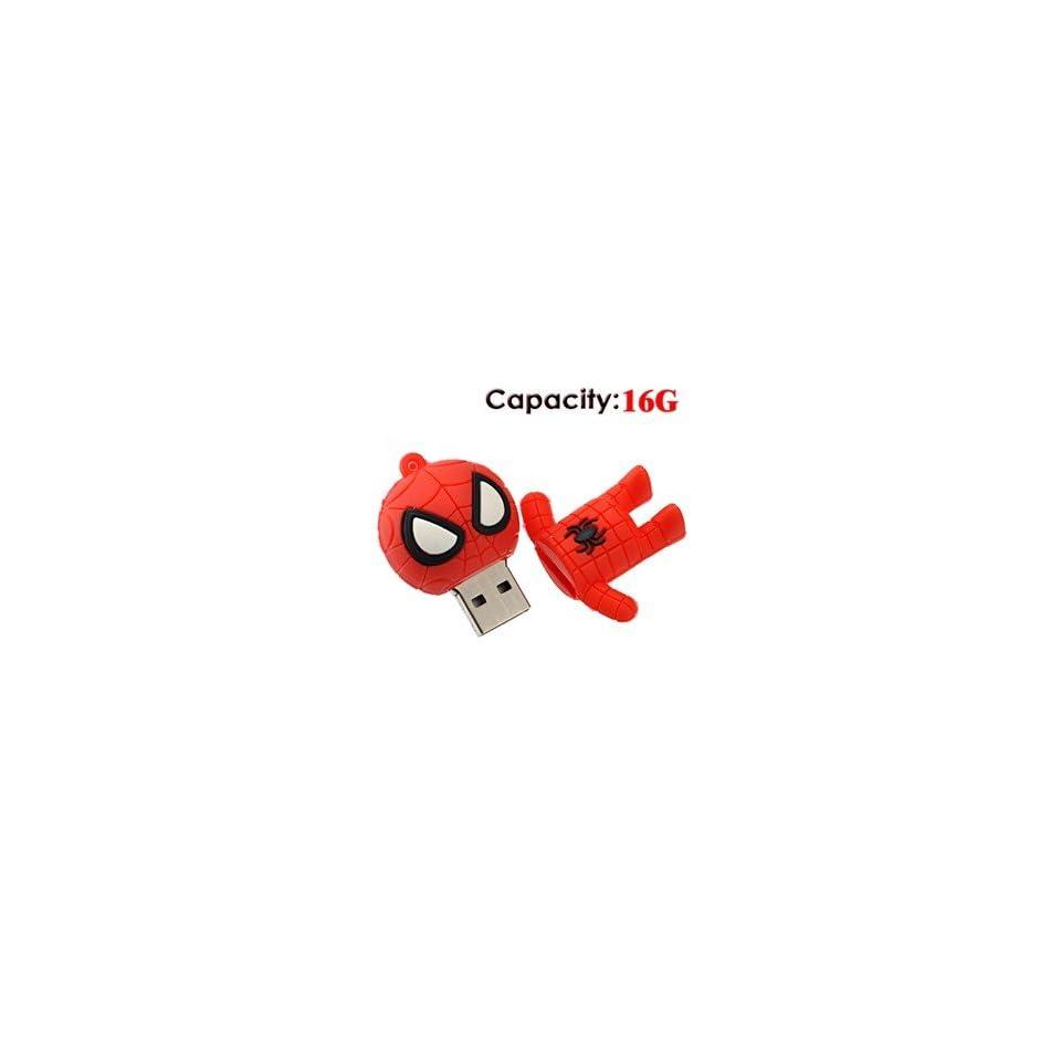 16G Small Cartoon Spider Man Shape Rubber USB Flash Drive (Red)