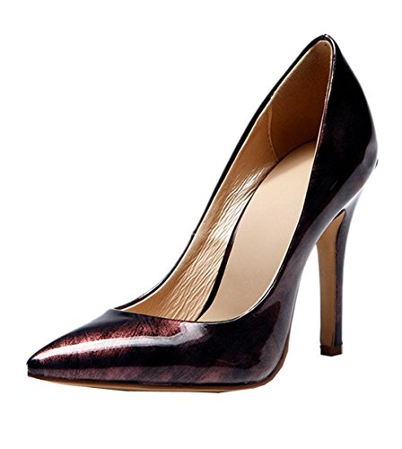 TDA Women's Pointed Toe Brush-off Patent Leather Evening Party Dress Shoes Sexy Stiletto Shoes Dress B01GHNKK76 Shoes 258c6a