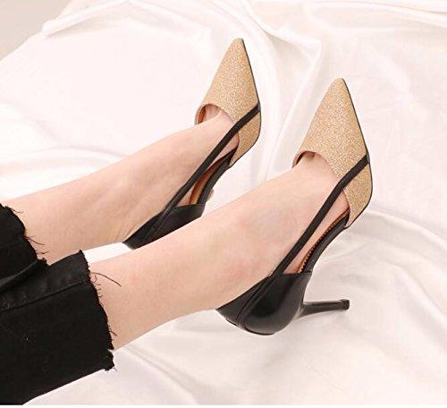 GTVERNH-Stilvolle Kristall Tipp 8 Cm High Heels Frauen Neue Neue Neue Sexy Blasse Hohl Die Von Dieser Einzigen Schuhe Tide Gebrochen Gold 9a7c54