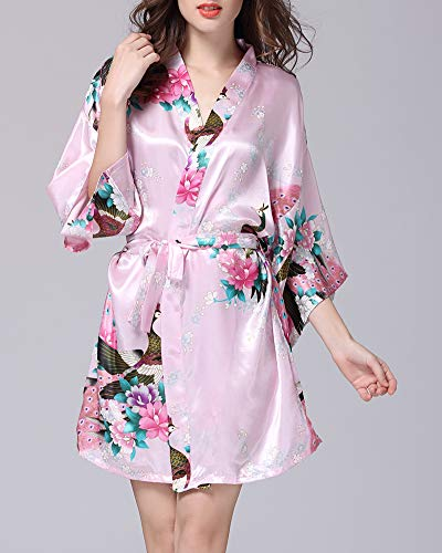 Fiore 4 Raso 3 Camincia K Donna Print notte Robe Sleepwear da Esotici con cintura Satin Pigiama Pavone Kimono Lingerie Floral Stile Sleeve YnwZaw0qF