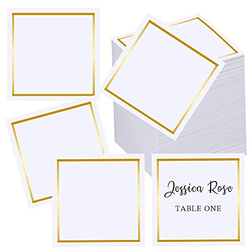 Supla 100 Pcs Gold Border Table Name Place Cards Square Blank Cards Name Tags Buffet Table Cards Small Escort Cards in White 3