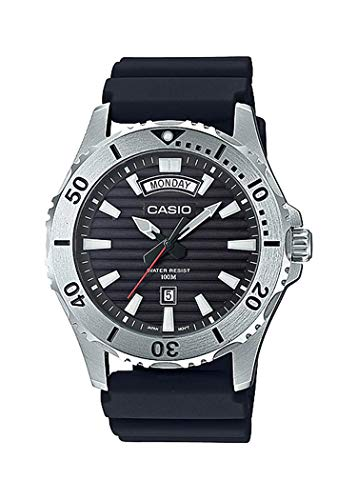 Casio MTD1087-1AV Men's Resin Band Day Date Black Dial 100M Sports Dive Watch