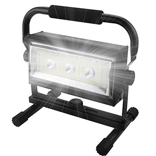 80w Led Baustrahler Akku Strahler – CE-zertifizierten Baulampe Arbeitsleuchte mit 6 Dimmstufen, Arbeitsleuchte Tragbar…