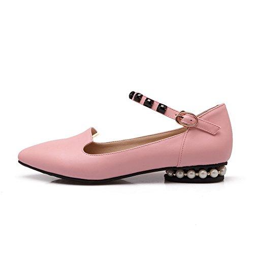 VogueZone009 Damen Niedriger Absatz Weiches Material Rein Schnalle Spitz Zehe Pumps Schuhe Pink