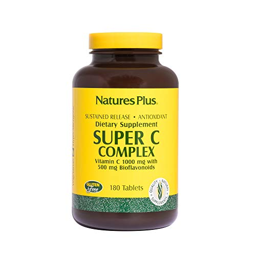 Natures Plus Super C Complex - 1000 mg, 180 Vegetarian Tablets, Sustained Release - High Potency Immune Support Supplement, Antioxidant - Gluten Free - 180 Servings