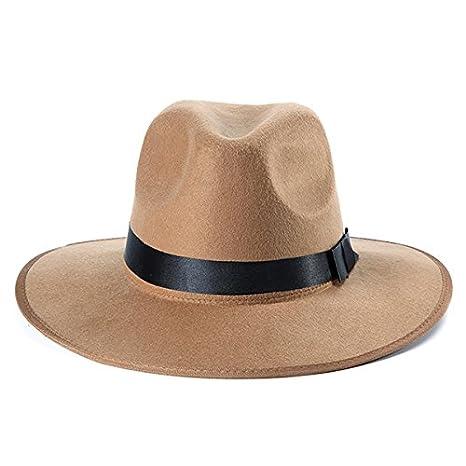 e980c354c0de1 Women ladies Cotton wide brim hat women black hat women fedora hat Blend  Jazz Felt Fedora Cap Wide Brim Bowler Trilby Panama Hat (Camel) - -  Amazon.com