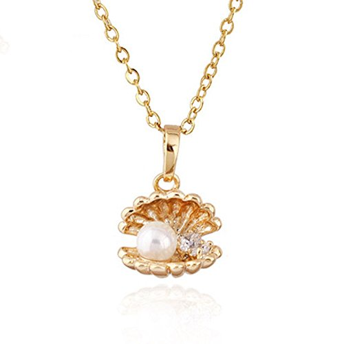 (Paweenaso Ransopakul White 18K Yellow Gold Filled Pearl Shells Pendant Sweater Chain Necklace)