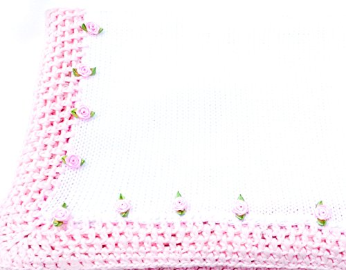 Knitted Crochet Finished White Cotton Pink Trim Blanket Trimmed Pink ()