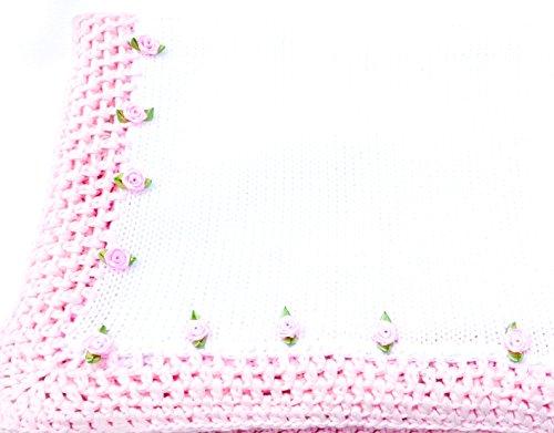knitted-crochet-finished-white-cotton-pink-trim-blanket-trimmed-pink-rosebuds