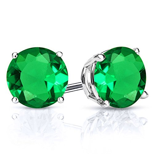 244-Ct-Round-7mm-Green-Simulated-Emerald-925-Sterling-Silver-Stud-Earrings