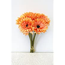 Sweet Home Deco 13 Silk Artificial Gerbera Daisy Bouquet (W/ 7stems, 7 Flower Heads), Home/wedding Decorations (Orange)