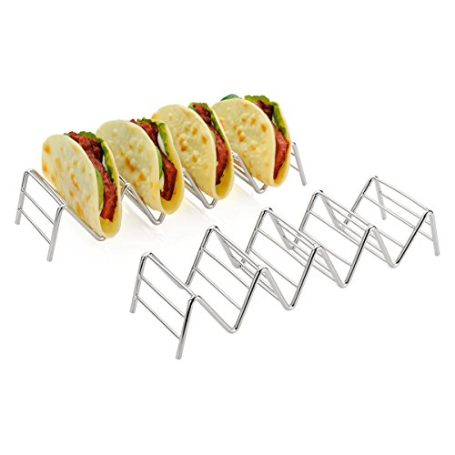 (Amazer Taco Holder, Taco Stand Stainless Steel Rustproof Taco Rack Hold 4 or 5 Hard or Soft Taco Shells Taco Truck Tray Style Oven Safe for Baking, 2-Pack)