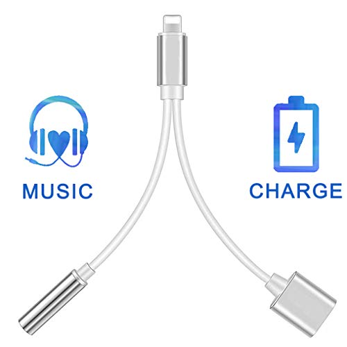 Headphone Adapter for iPhone X for iPhone Dongle 3.5 mm Jack Aux Adapter 2 in 1 Earphone Splitter Adapter Charger Cables & Audio Connector for iPhone Xs/Xs Max/XR/ 8/8 Plus /7/7 Plus Support All iOS