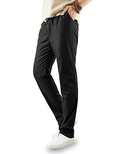 Taipove Et Lin Hommes De En Avec Pantalon Noir Long Décontracté Poches Cordon Pour Taille Czfwaa