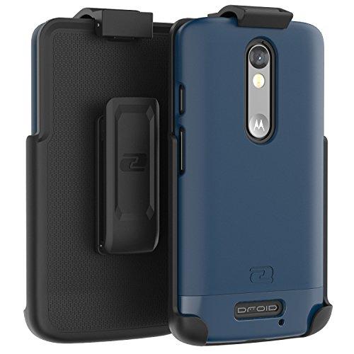 - Encased Motorola Droid Turbo 2 Belt Case, Ultra Thin (2016 SlimShield Edition) Secure-fit Holster Clip & Tough Cover (Deep Blue)