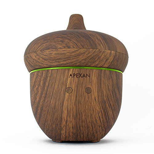 Apexan Aromatherapy Essential Oil Diffuser, Aroma Diffuser with Cool Mist 300mL, Super-Quiet Humidifier, Air Purifier, with Timer & Soothing Light for Home, Bedroom, Office, Spa (Light Wooden Grain)