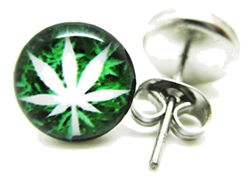 Pot Leaf Stud Post Earrings - New - Pair!