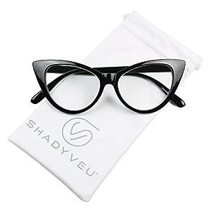 ShadyVEU - Women's Cat Eye 80's Magnifying Readers Rx Reading Prescription Eye Glasses (Black Cat Eye Frame, +1.50)