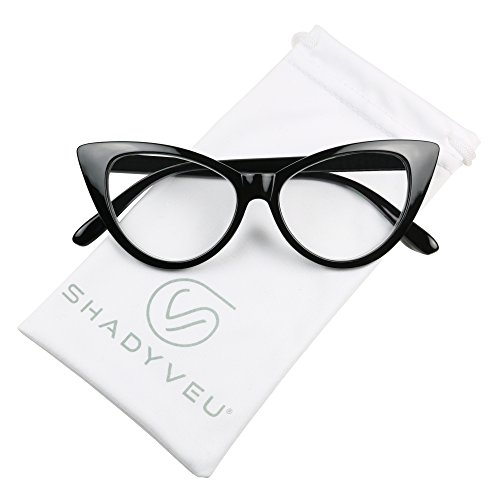 ShadyVEU - Women's Cat Eye 80's Magnifying Readers Rx Reading Prescription Eye Glasses (Black Cat Eye Frame, 1.25)